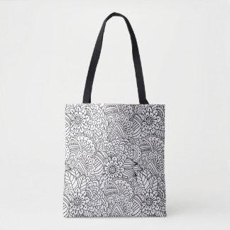 Doodle 2 del diseño floral bolsa de tela