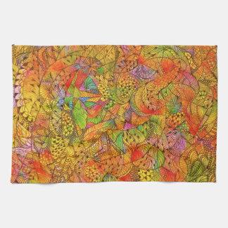 Doodle anaranjado Toalla-Festivo de la cocina
