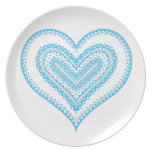 Doodle and lace heart 6 blue party plate