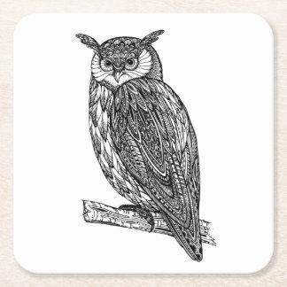 Doodle animal del búho del tótem salvaje posavasos personalizable cuadrado