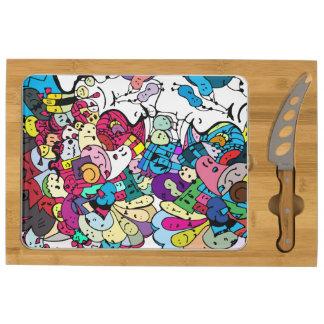 doodle art cheese board rectangular cheese board