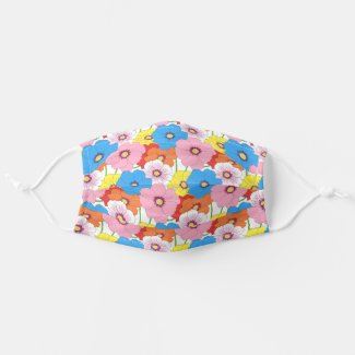 Doodle Art Colorful Flower Pattern Cloth Face Mask