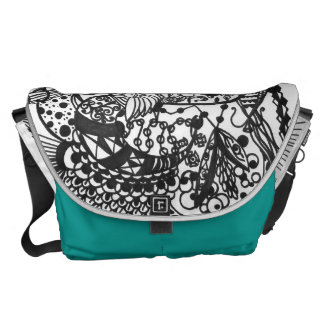 Doodle art on a bag. Drawing with black markers. Courier Bag