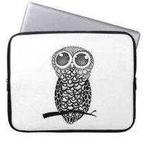 Doodle Art Owl Laptop Sleeve