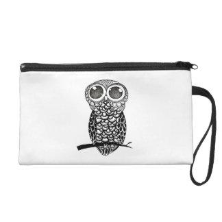Doodle Art Owl Wristlet Purse