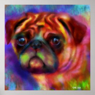 Doodle Art Pug Dog Poster