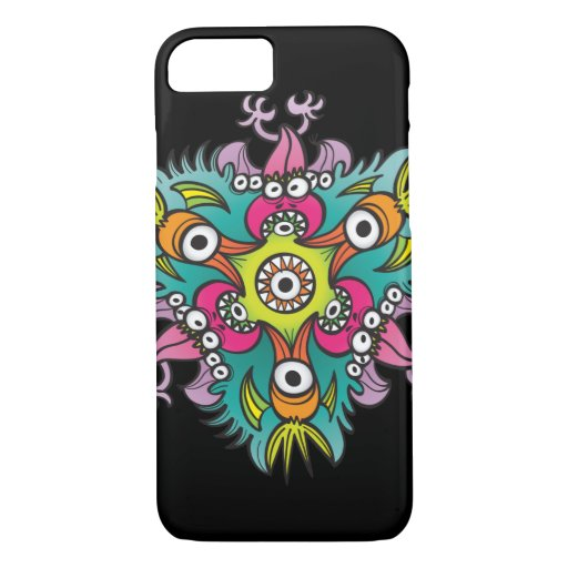 Doodle art showing hungry monsters going crazy iPhone 8/7 case