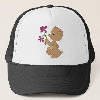 Doodle Bear Flowers Trucker Hat