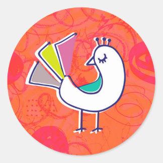 Doodle Bird Stickers Round Sticker