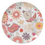 doodle birds dinner plate