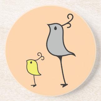 Doodle Birds, Grey/Yellow Drink Coaster