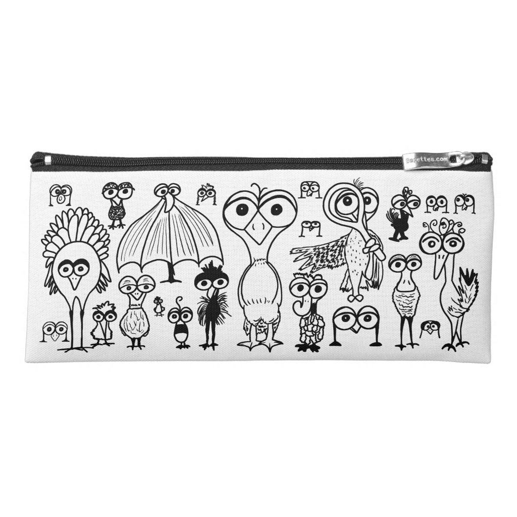 Doodle Birds Pencil Case Whimsical Zippered Bag