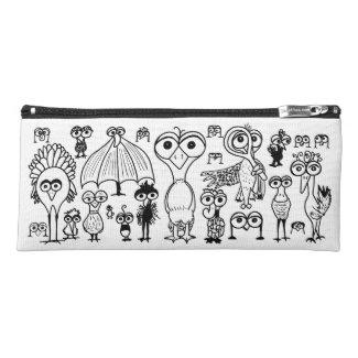 Doodle Birds Pencil Case Whimsical Zippered Bag