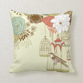 doodle birds throw pillow