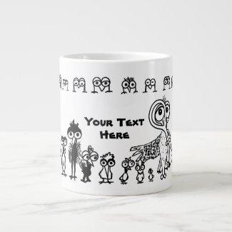 Doodle Birds Specialty Mug with Custom Text