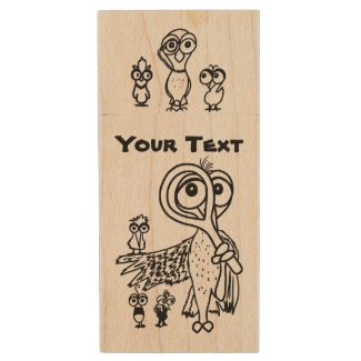 Doodle Birds Whimsical Wood USB Flash Drive