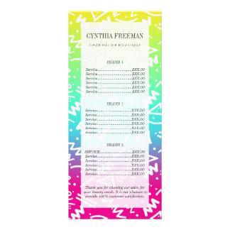 Doodle bosquejado arco iris de neón retro de los diseño de tarjeta publicitaria