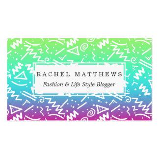 Doodle bosquejado arco iris de neón retro de los tarjetas de visita