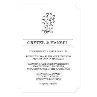 doodle botanical flower card
