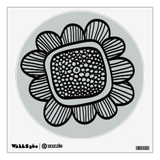 Doodle botanical flower wall decal