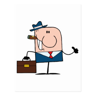 Doodle Businessman Holding A Thumb Up Postcard