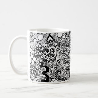 Doodle butterflies and flowers classic white coffee mug
