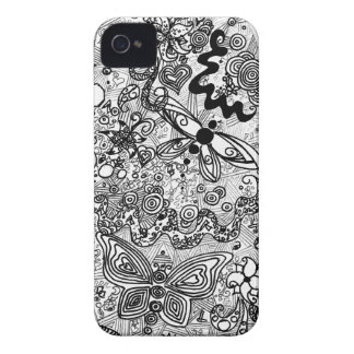 Doodle butterflies and flowers iPhone 4 Case-Mate case
