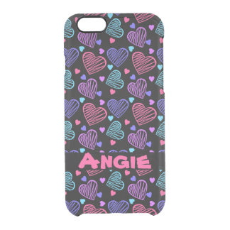Doodle Candy Hearts Clear iPhone 6/6S Case