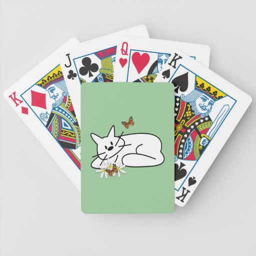 Doodle Cat Bicycle Playing Cards