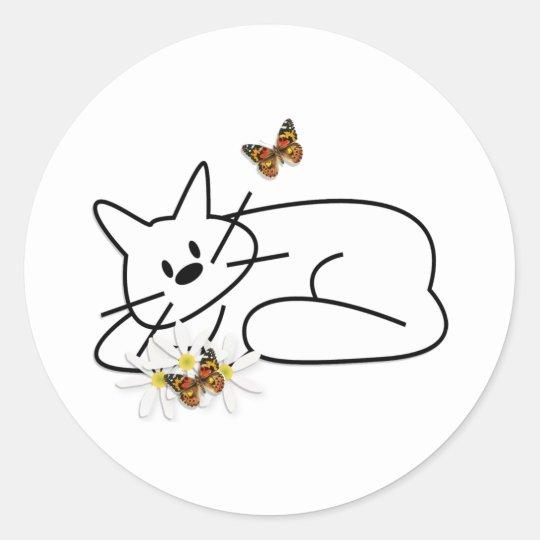 Doodle Cat Classic Round Sticker