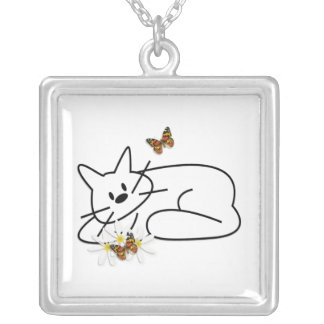 Doodle Cat Fun Silver Plated Necklace