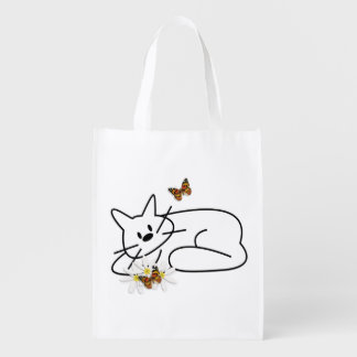 Doodle Cat Grocery Bags
