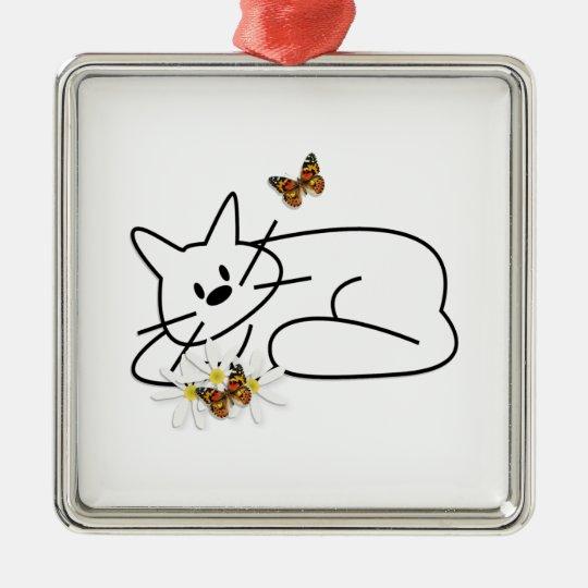 Doodle Cat Metal Ornament