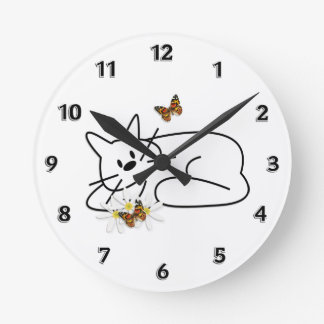 Doodle Cat Round Clock