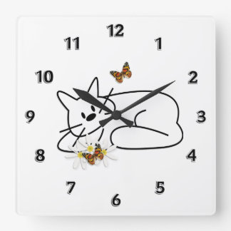 Doodle Cat Square Wall Clock
