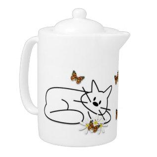 Doodle Cat Teapot at Zazzle