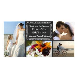 Doodle Chalkboard Wedding Photo Thank You Card