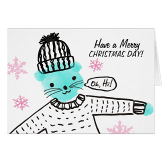 Doodle Christmas cat knitting crochet hat sweater Card