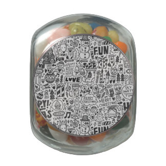 Doodle Christmas Pattern Glass Candy Jars