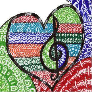 Doodle colorido del corazón de la música del arco imán fotoescultura