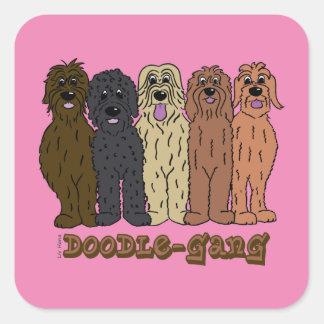 Doodle course square sticker