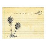 doodle de la abeja postales