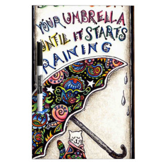 Doodle de la cita del gato del paraguas pizarra