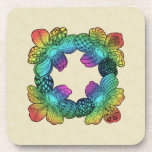 Doodle de la flor del arco iris posavasos de bebida