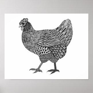 doodle de la gallina póster