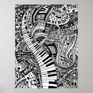 Doodle de la música clásica con el teclado de póster