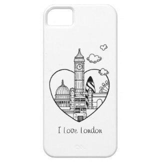 Doodle de Londres del amor Funda Para iPhone 5 Barely There