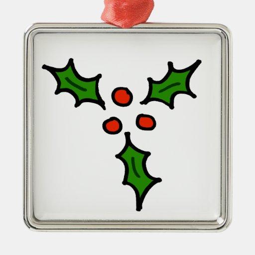 Doodle del acebo del navidad adorno navideño cuadrado de metal
