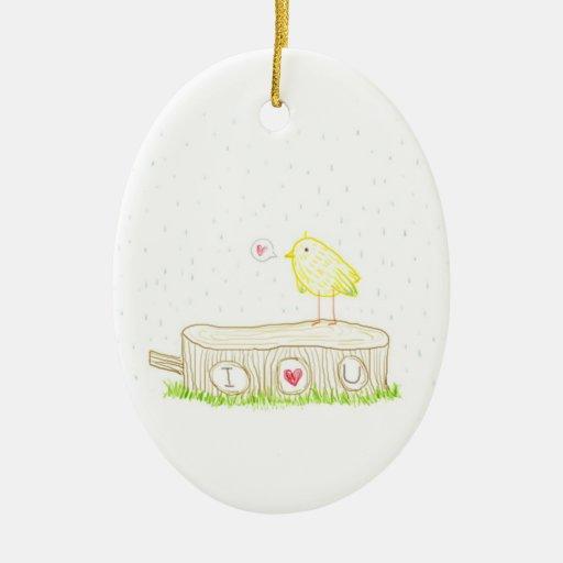 Doodle del bosque te amo adorno navideño ovalado de cerámica