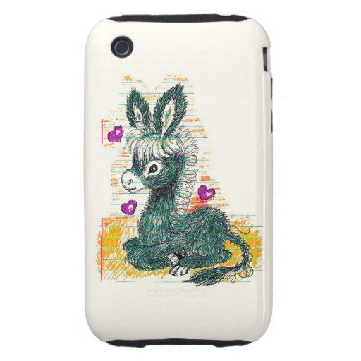 Doodle del burro iPhone 3 tough funda
